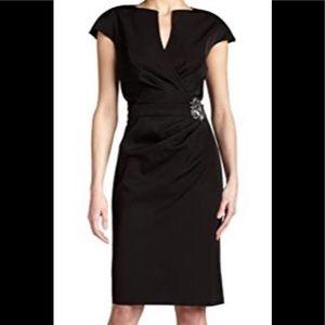 Tadashi Shoji black wrap cocktail dress EUC  8
